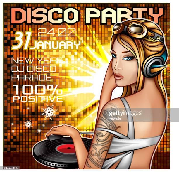 ilustraciones, imágenes clip art, dibujos animados e iconos de stock de dj discoteca party poster - mujer escuchando musica