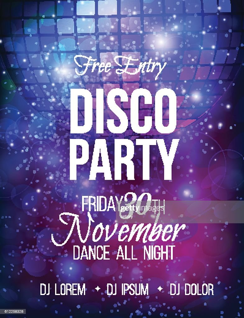 Disco party vector poster template