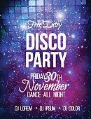 Disco party vector poster template