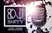 DJ disco party with microphone on bokeh background