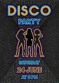 disco poster in a retro 80s style