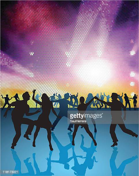 discotheque party - conga dancing stock illustrations, clip art, cartoons, & icons