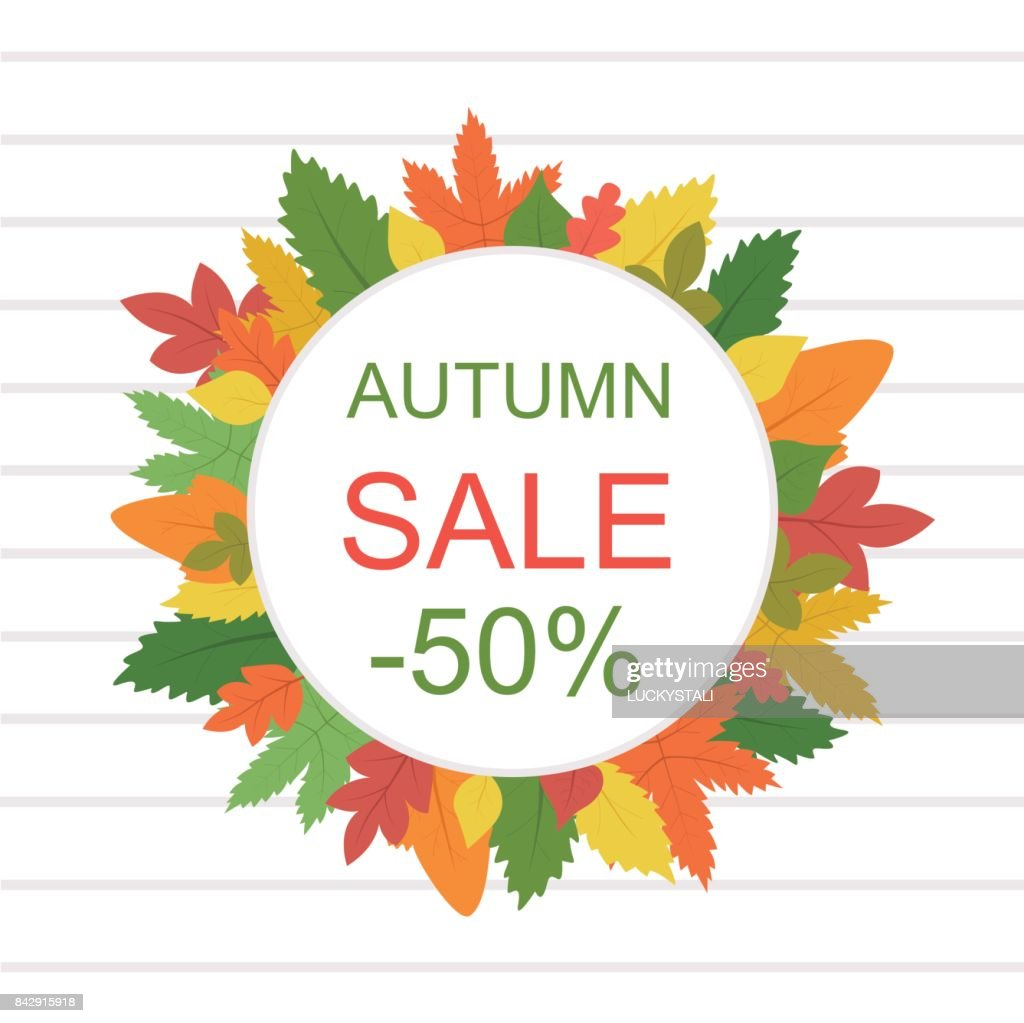 Discount banner for printing. Autumn sale for advertising. A colorful pattern with leaves in a flat style. Vector background, flyer, signboard.