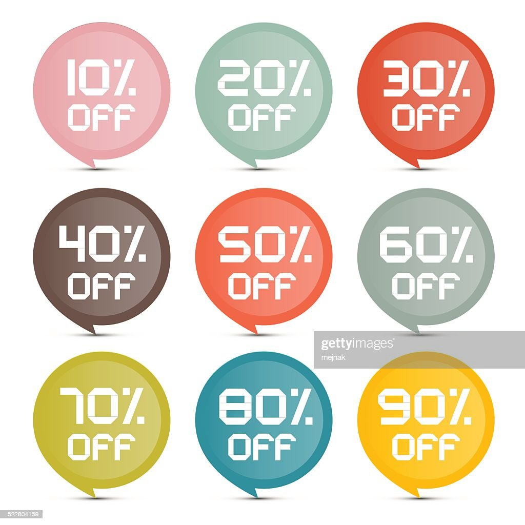 Discount Circle Colorful Vector Stickers - Labels Set