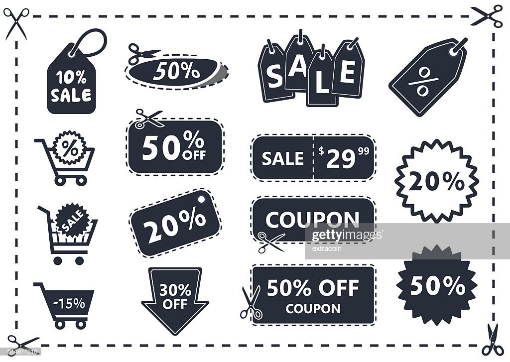 discount coupons, sale icon set