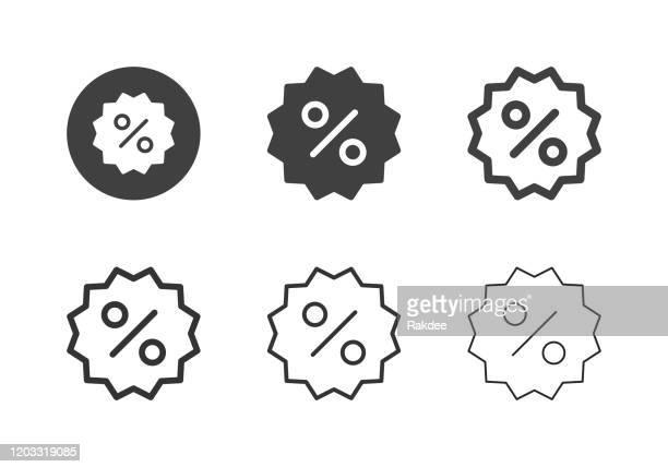 discount label icons - multi-serie - ausverkauf stock-grafiken, -clipart, -cartoons und -symbole