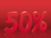 50% discount on red background