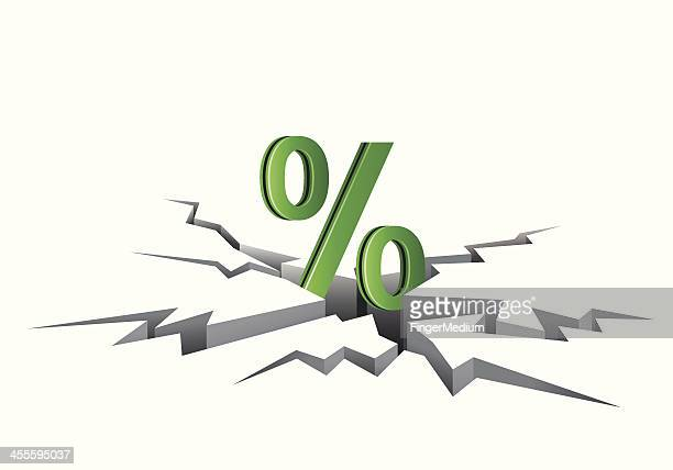 discount percentage - cracked stock illustrations