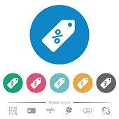 Discount price label flat round icons