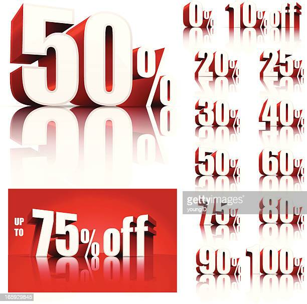 discount sale set - number 75 stock illustrations, clip art, cartoons, & icons