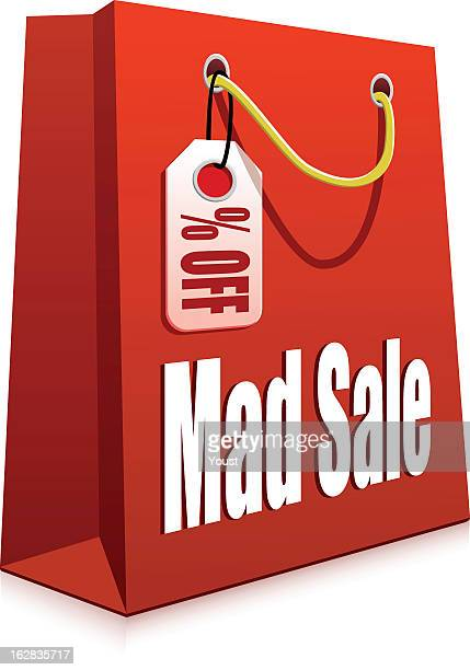 discount shopping bag - goodie bag stock illustrations, clip art, cartoons, & icons
