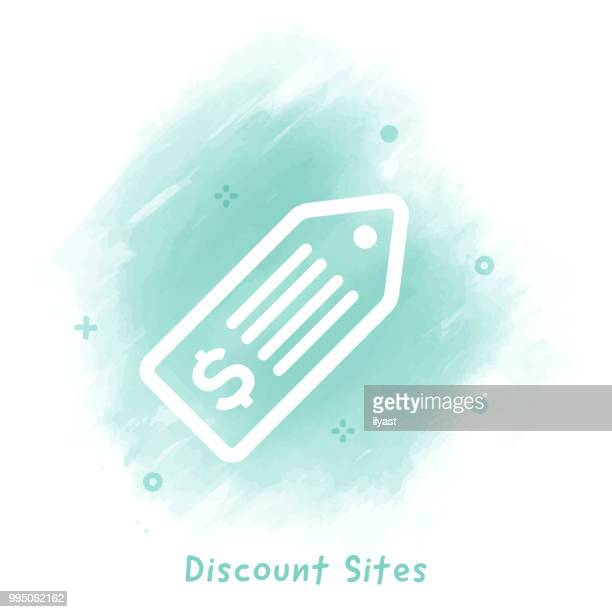 discount sites line icon watercolor background - drawing artistic product stock illustrations