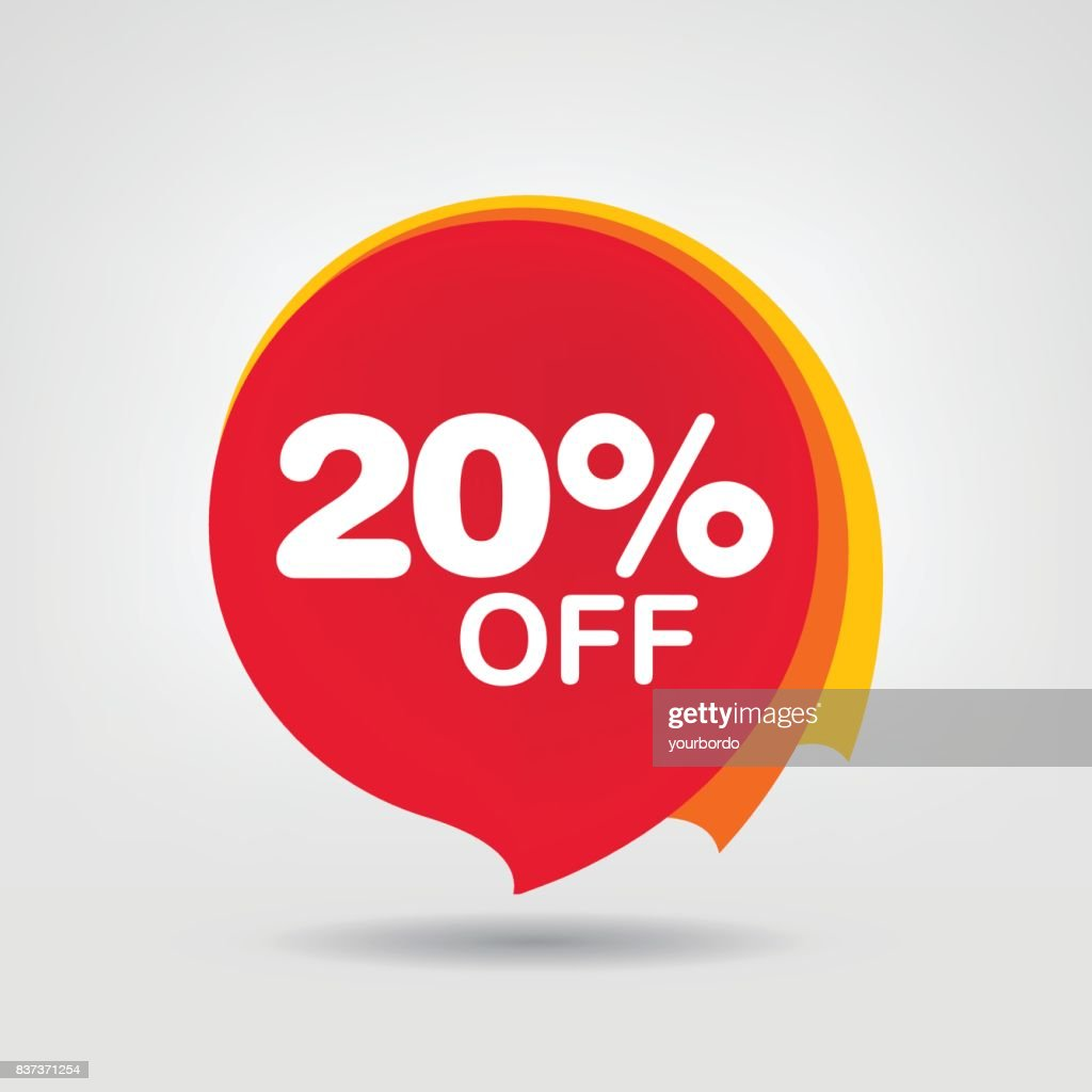 20% OFF Discount Sticker. Sale Red Tag Isolated Vector Illustration. Discount Offer Price Label, Vector Price Discount Symbol.