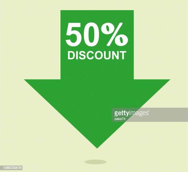 símbolo del 50% de descuento