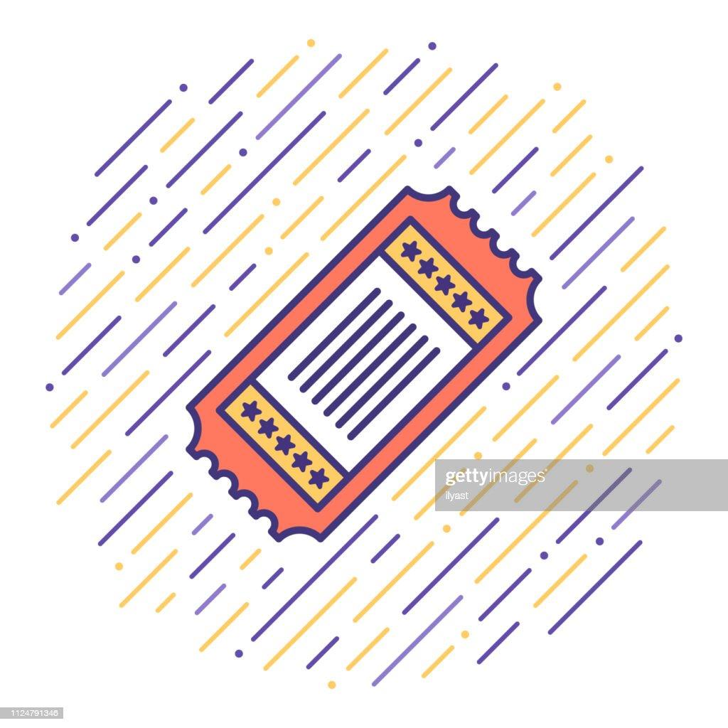 Discount Ticket Flat Line Icon Illustration