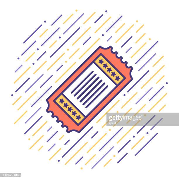 discount ticket flat line icon illustration - ticket stock illustrations, clip art, cartoons, & icons