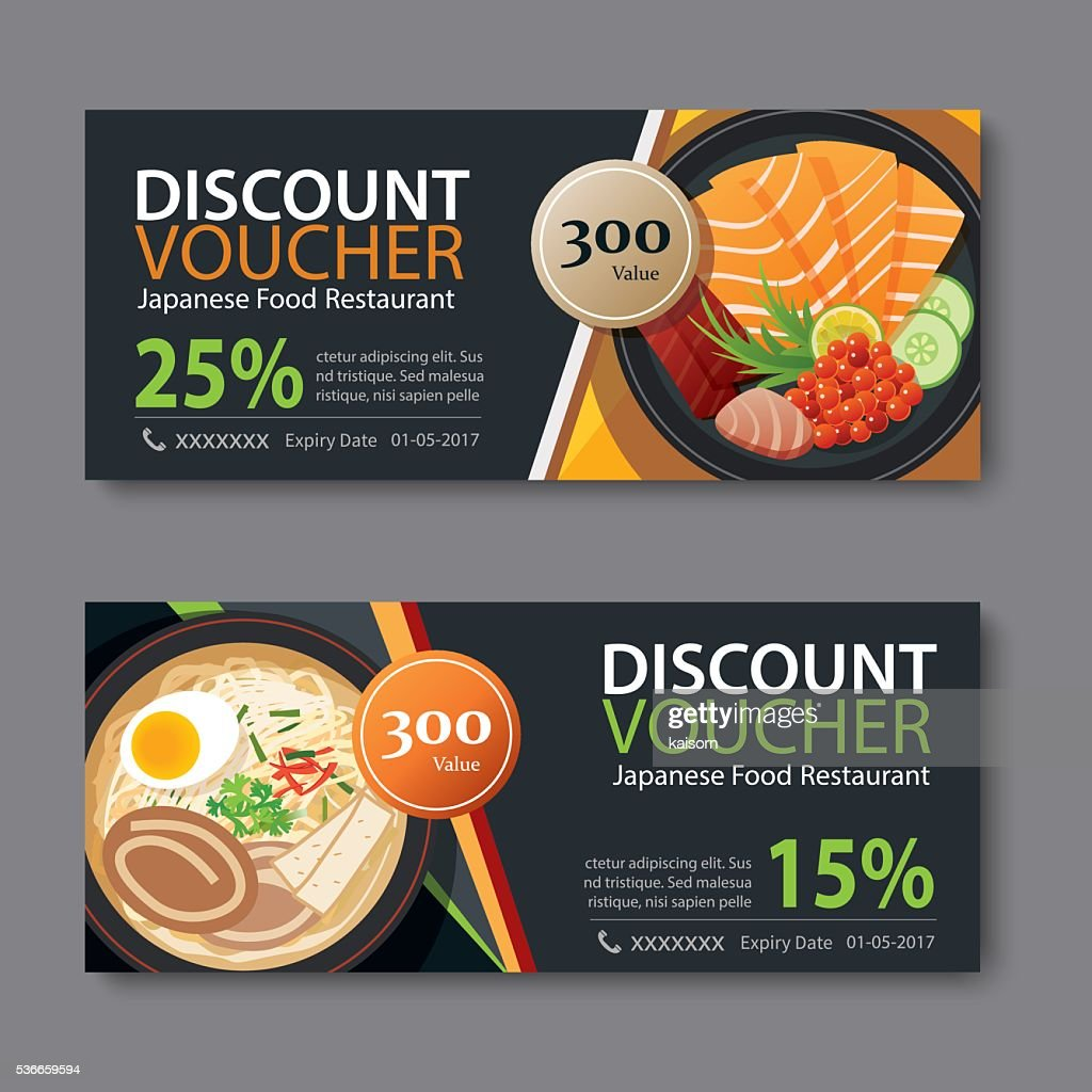 discount voucher template with japanese food flat design