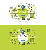 Discover. Flat line color hero images and hero banners design concept