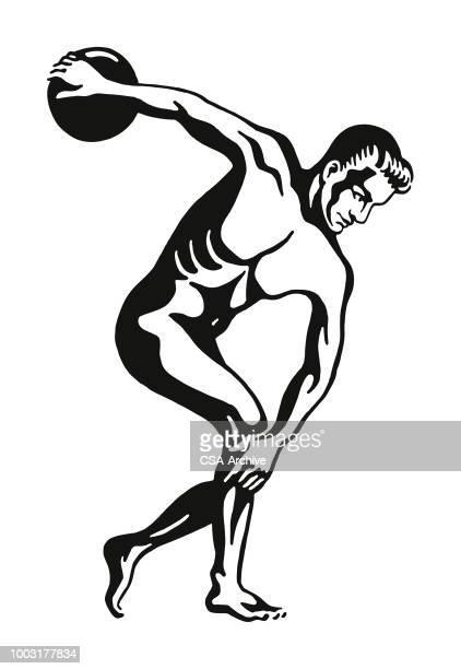 discus thrower - discus stock illustrations, clip art, cartoons, & icons