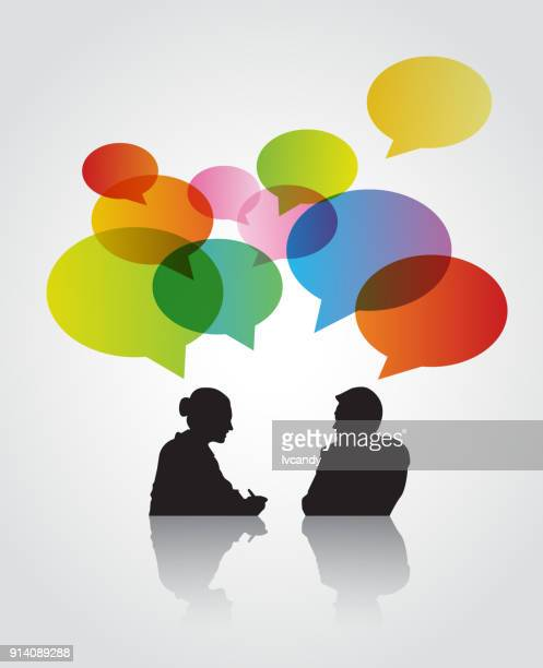 discussion - job interview stock illustrations, clip art, cartoons, & icons