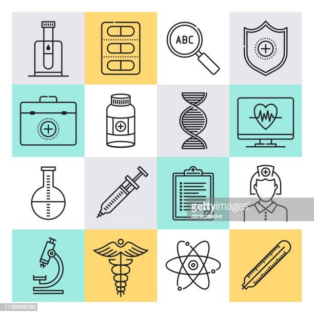 disease control & prevention outline style vector icon set - dose stock illustrations