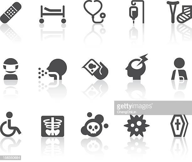 disease icons | simple black series - terminal illness stock illustrations, clip art, cartoons, & icons