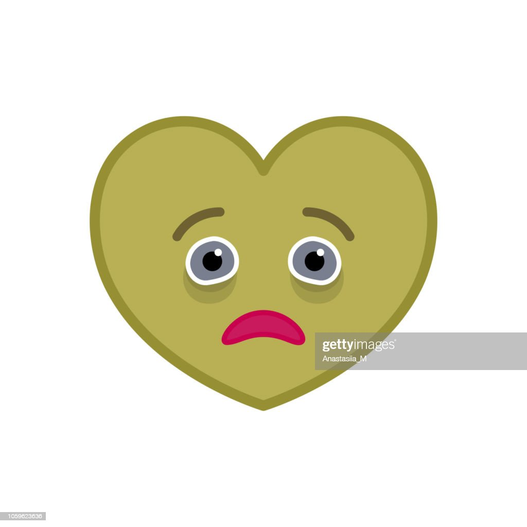 Diseased heart shaped funny emoticon icon