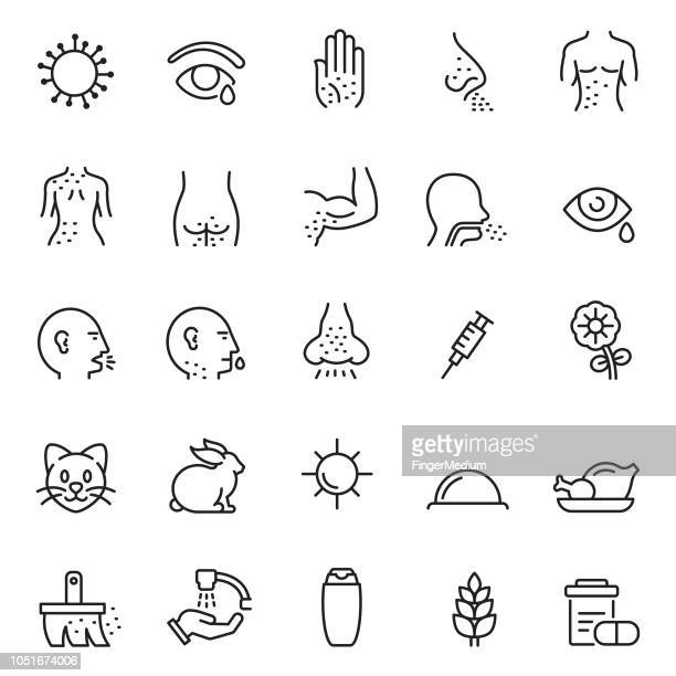 diseases icon set - sneezing stock illustrations, clip art, cartoons, & icons