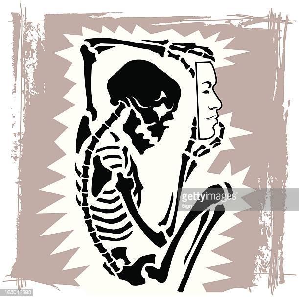 ilustrações, clipart, desenhos animados e ícones de disfarçada de skeleton - osso humano