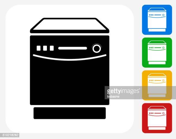 Dish Washer Icon Flat Graphic Design