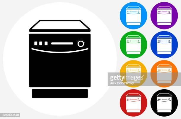 Dish Washer Icon on Flat Color Circle Buttons
