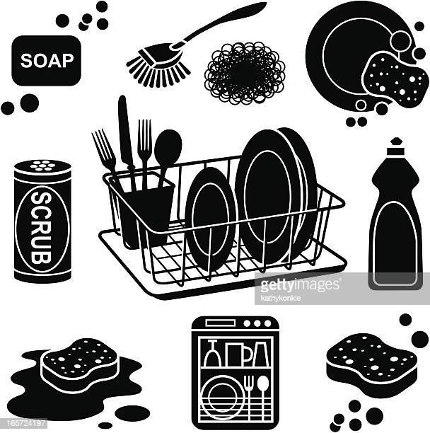 ilustrações, clipart, desenhos animados e ícones de ícones de lavar louça - lava