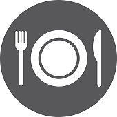 dish with fork and knife isolated icon