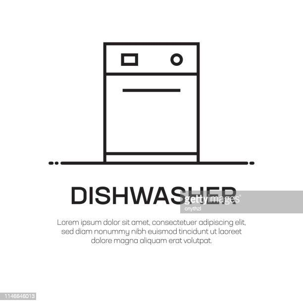 dishwasher vector line icon - simple thin line icon, premium quality design element - washing dishes stock illustrations, clip art, cartoons, & icons