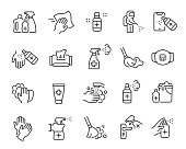 Disinfection and cleaning icon set. Editable vector stroke