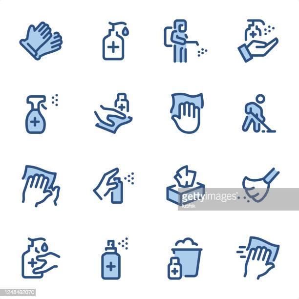 消毒とクリーニング - ピクセルパーフェクトブルーラインアイコン - 消毒薬点のイラスト素材/クリップアート素材/マンガ素材/アイコン素材