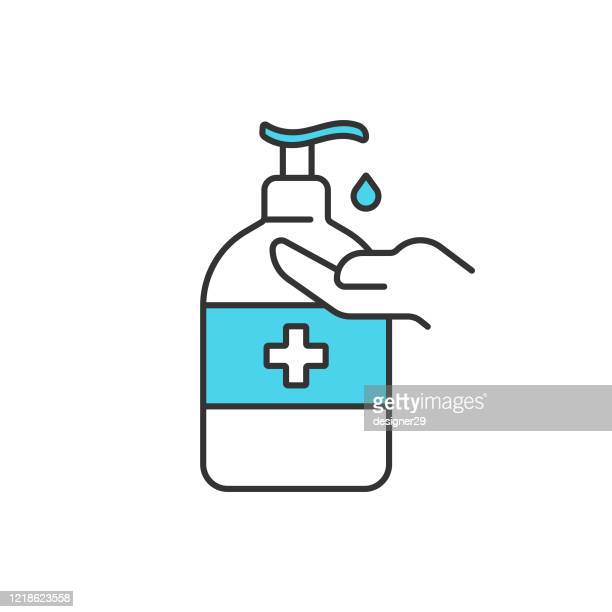 disinfection and hand sanitizer icon vector design on white background. - hand sanitizer stock illustrations