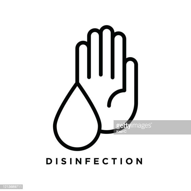 desinfektion symbol stock illustration, warnzeichen über coronavirus oder covid-19 prävention vektor-illustration - hygiene stock-grafiken, -clipart, -cartoons und -symbole
