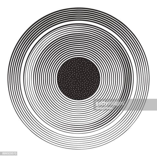 Schijf en bol met concentrische gestreept patroon en sterren