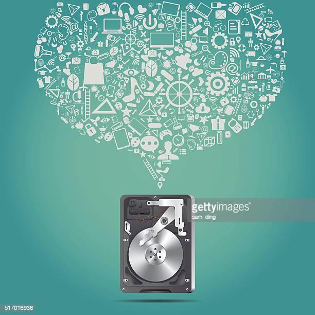 disk - hard drive stock illustrations, clip art, cartoons, & icons