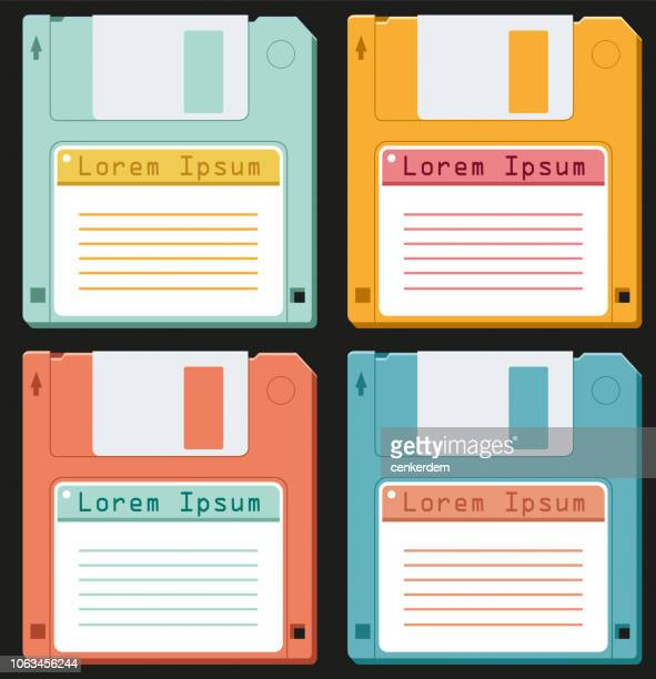 diskette set - floppy disk stock illustrations, clip art, cartoons, & icons