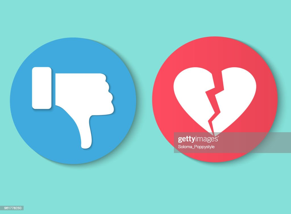 Dislike hand thumb down illustration vector symbol sign gesture. Dislike broken heart