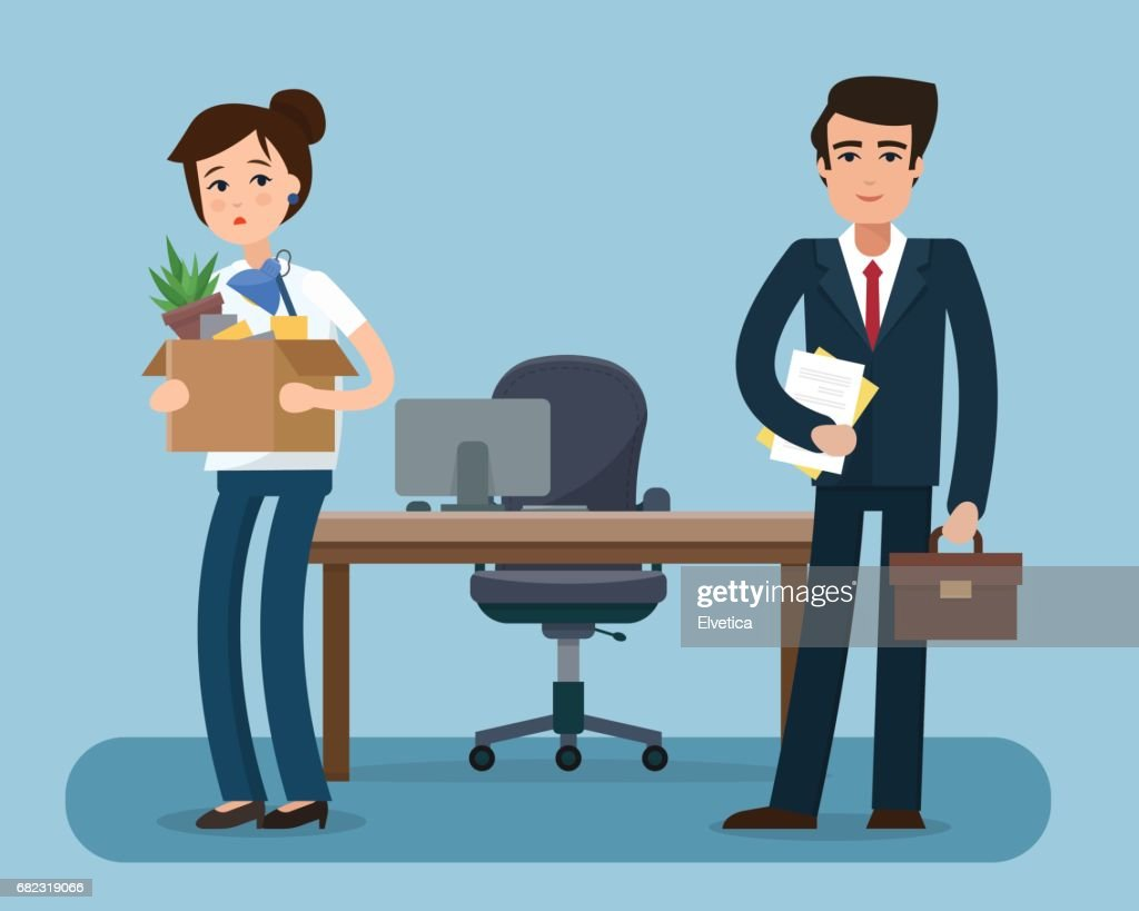 Dismissed office worker with box with office things.