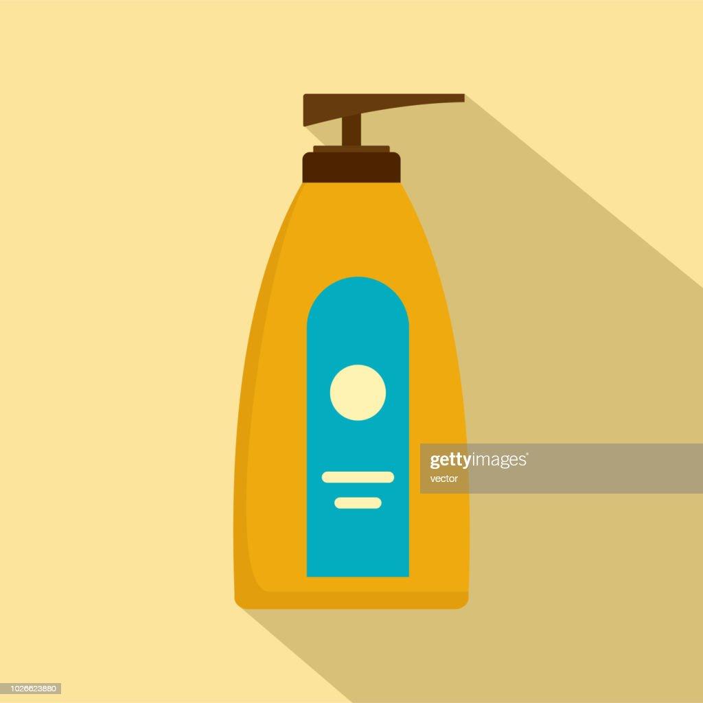Dispenser lotion sun icon, flat style