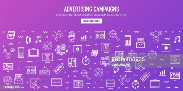 display advertising campaigns outline style web banner design - commercial sign stock illustrations