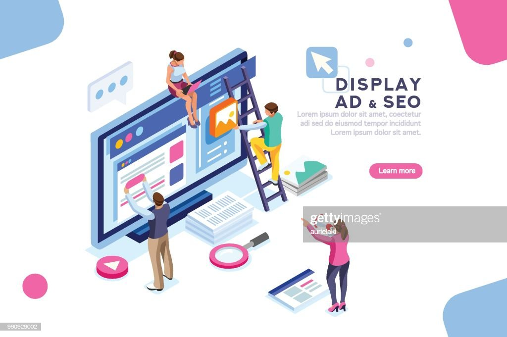Display Campaign Flat Isometric Banner