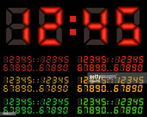 LED display numbers royalty free vector icon sets