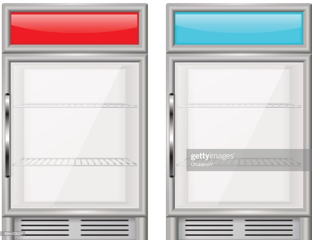 Display refrigerator. Small compact fridge