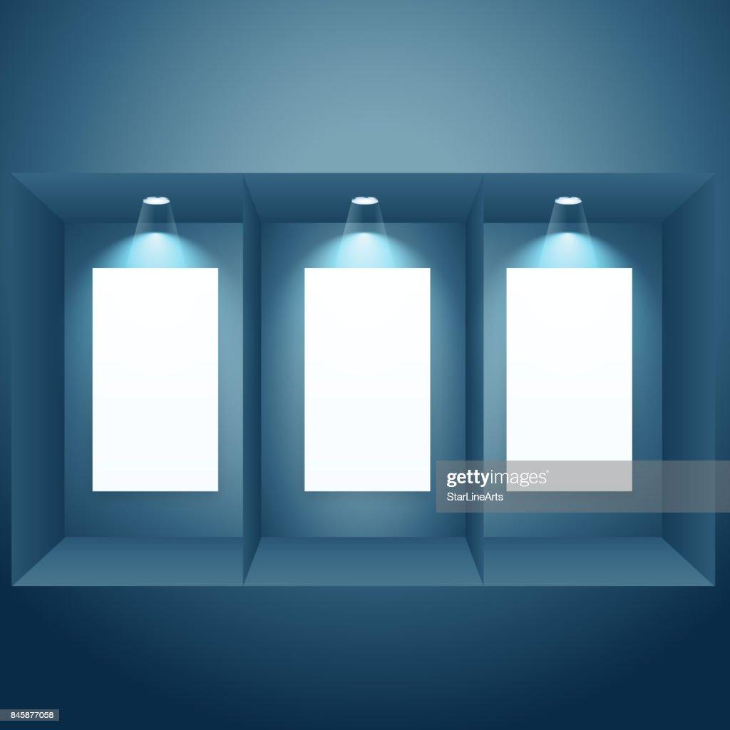 display window with empty frame