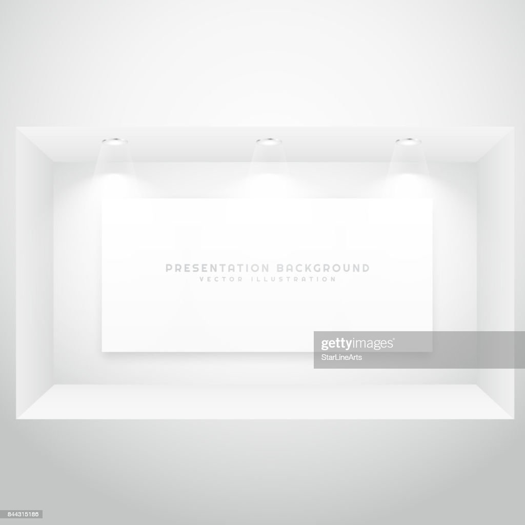 display window with presentation picture frame